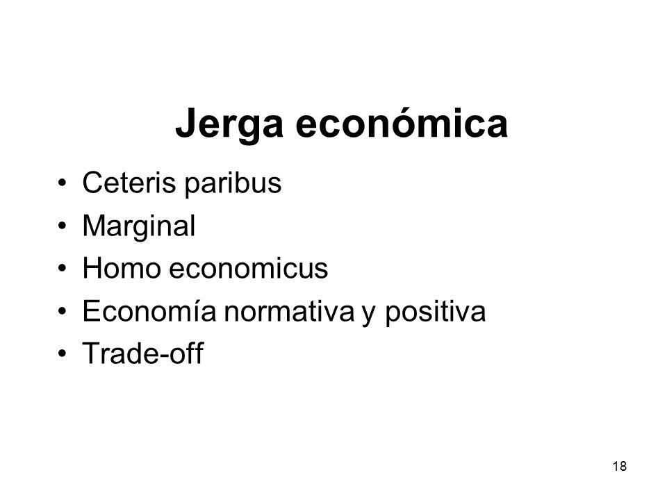 Jerga económica Ceteris paribus Marginal Homo economicus