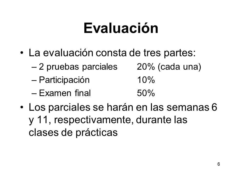 Evaluación La evaluación consta de tres partes: