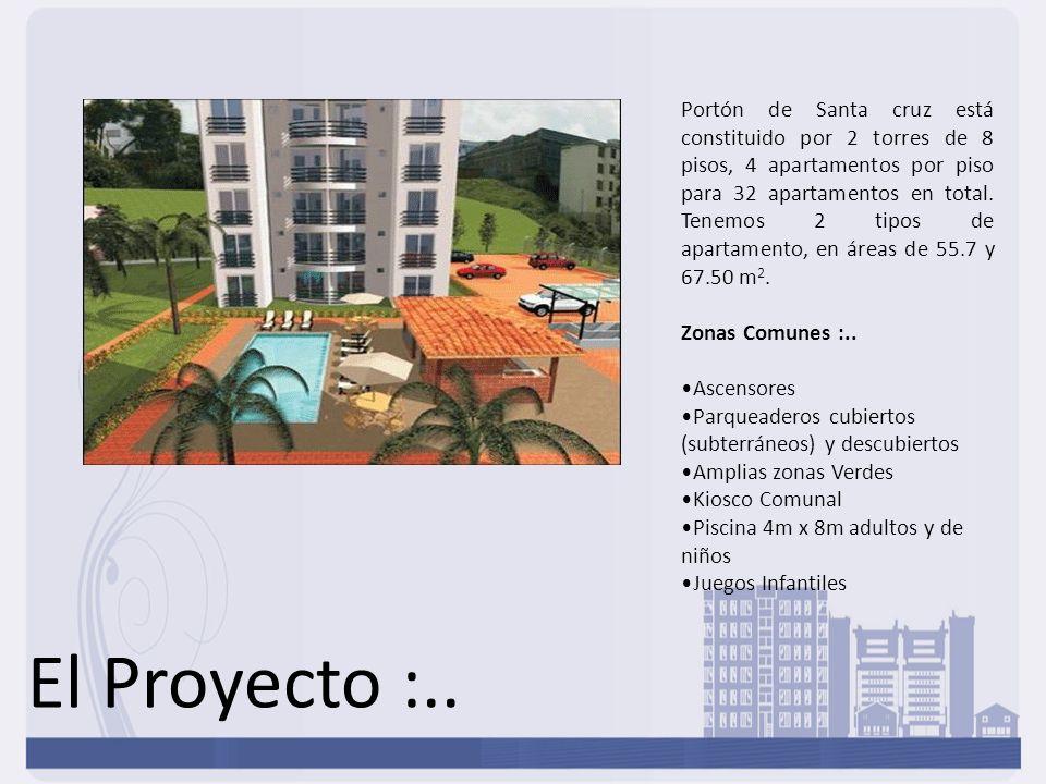 Portón de Santa cruz está constituido por 2 torres de 8 pisos, 4 apartamentos por piso para 32 apartamentos en total. Tenemos 2 tipos de apartamento, en áreas de 55.7 y 67.50 m2.