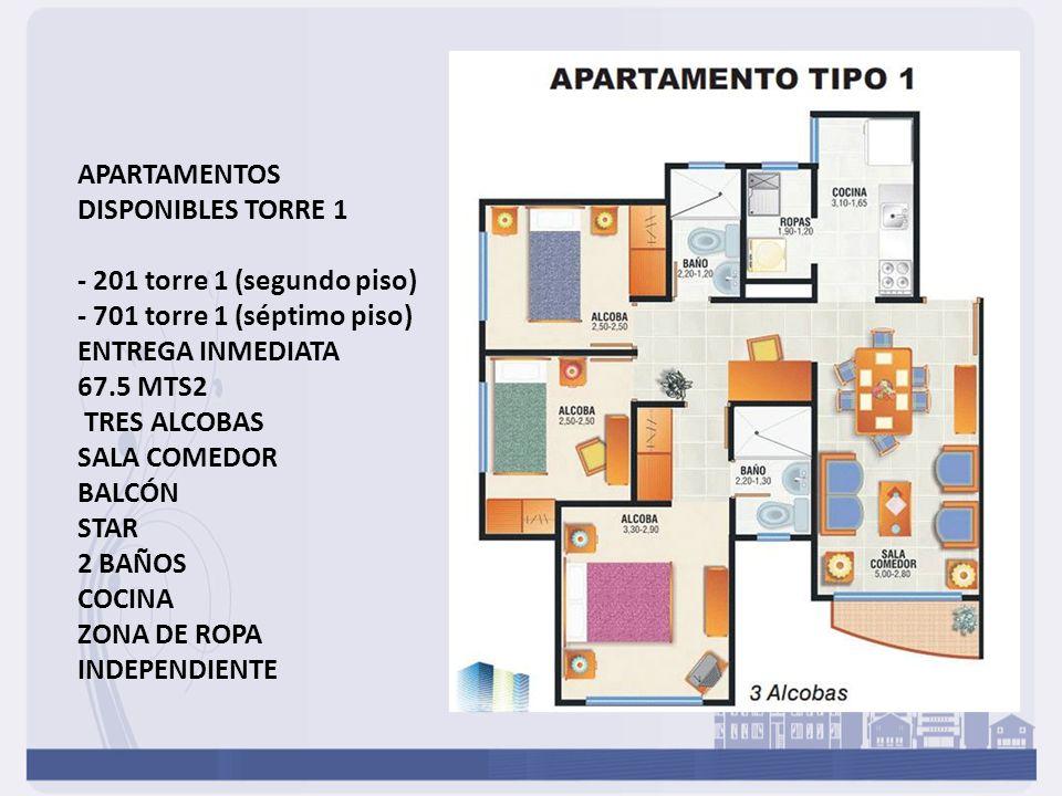 APARTAMENTOS DISPONIBLES TORRE 1 - 201 torre 1 (segundo piso) - 701 torre 1 (séptimo piso) ENTREGA INMEDIATA 67.5 MTS2 TRES ALCOBAS SALA COMEDOR BALCÓN STAR 2 BAÑOS COCINA ZONA DE ROPA INDEPENDIENTE