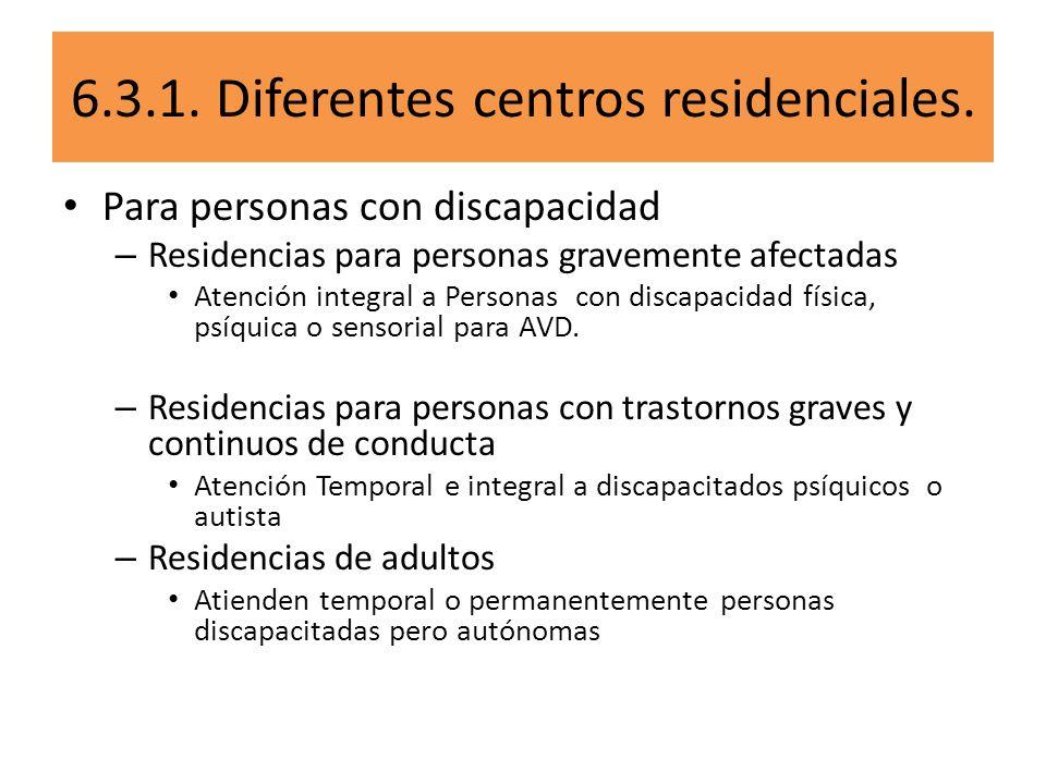 6.3.1. Diferentes centros residenciales.