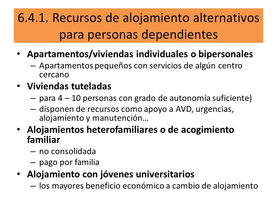 6.4.1. Recursos de alojamiento alternativos para personas dependientes