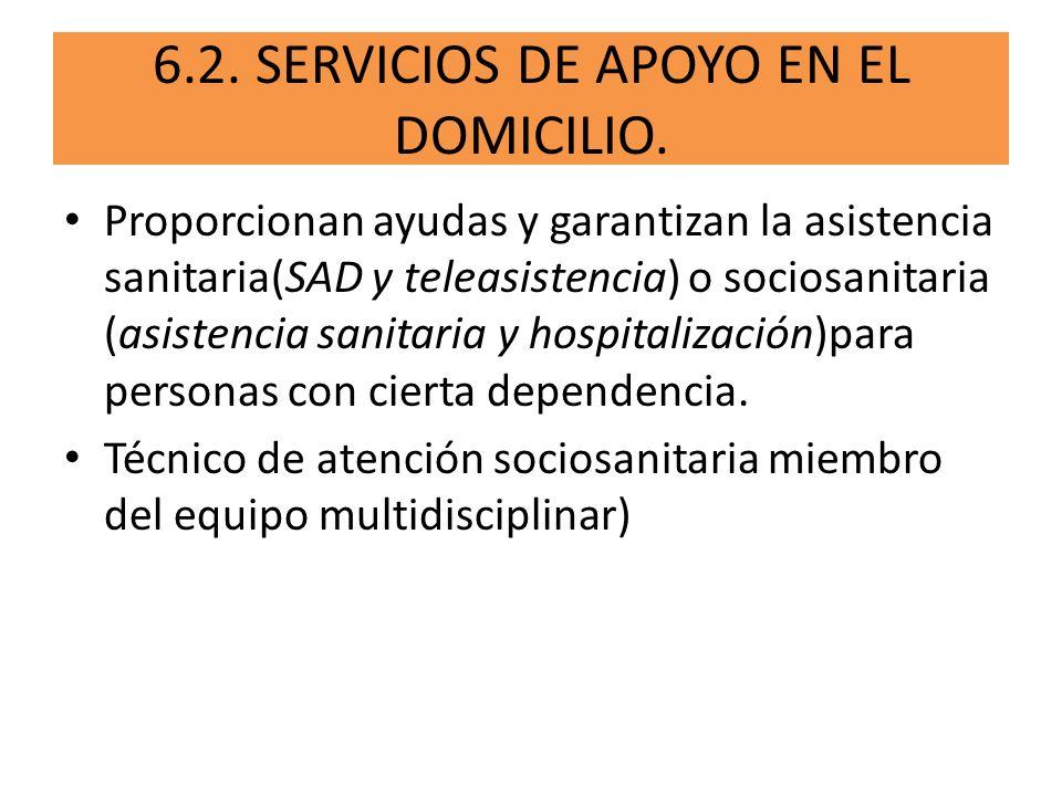 6.2. SERVICIOS DE APOYO EN EL DOMICILIO.