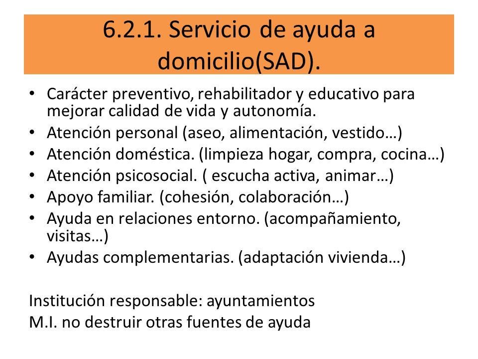 6.2.1. Servicio de ayuda a domicilio(SAD).