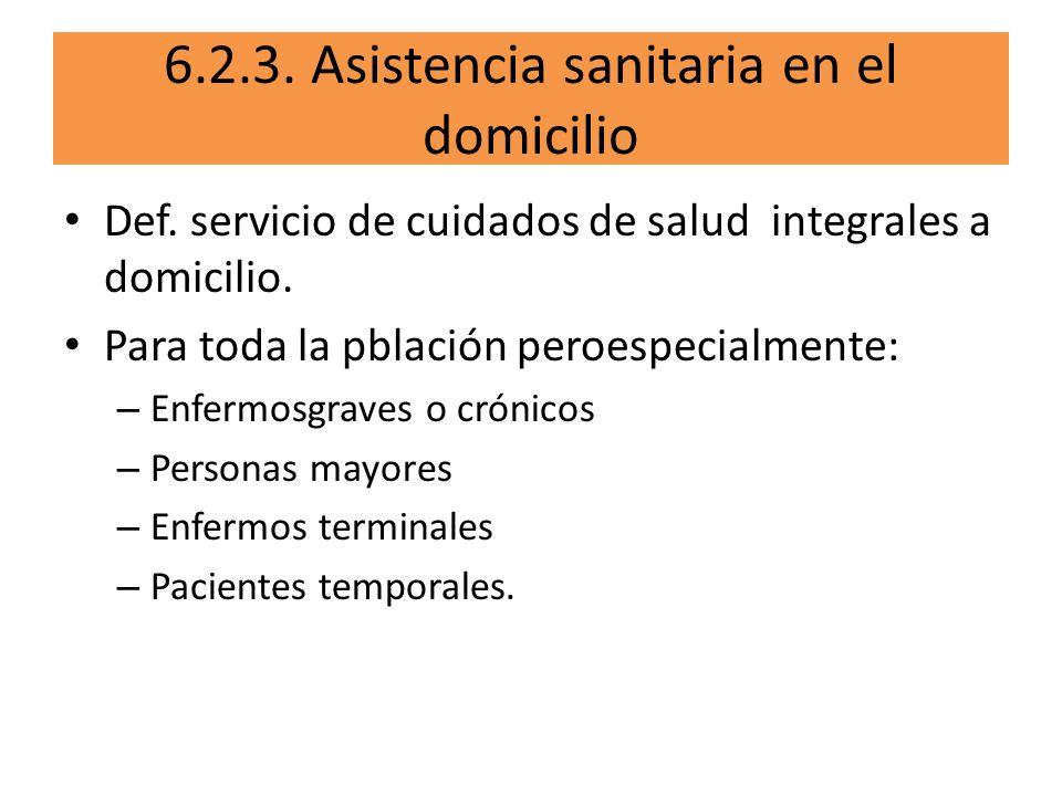 6.2.3. Asistencia sanitaria en el domicilio