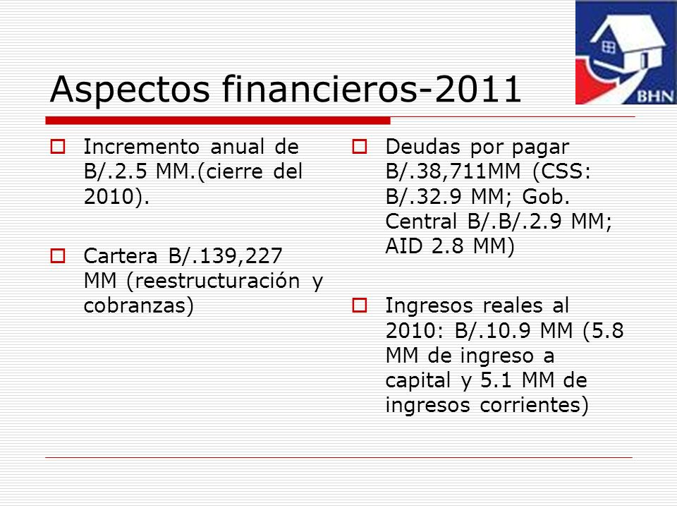 Aspectos financieros-2011