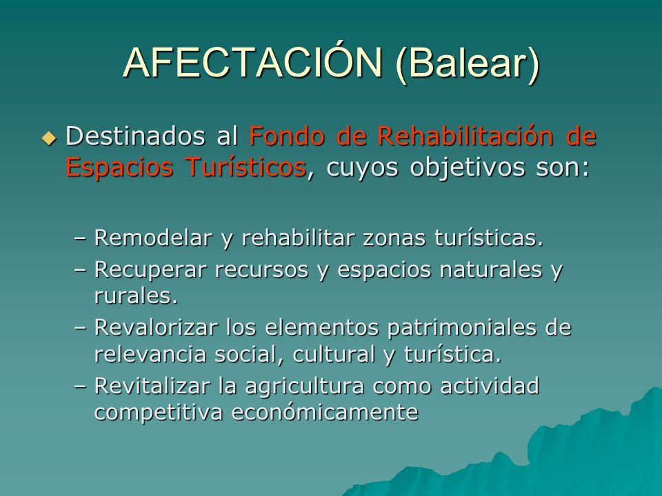 AFECTACIÓN (Balear) Destinados al Fondo de Rehabilitación de Espacios Turísticos, cuyos objetivos son: