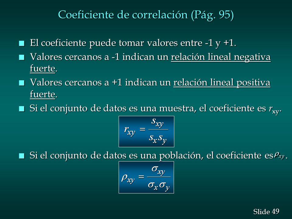 Coeficiente de correlación (Pág. 95)