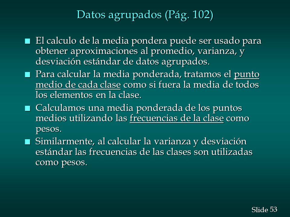 Datos agrupados (Pág. 102)