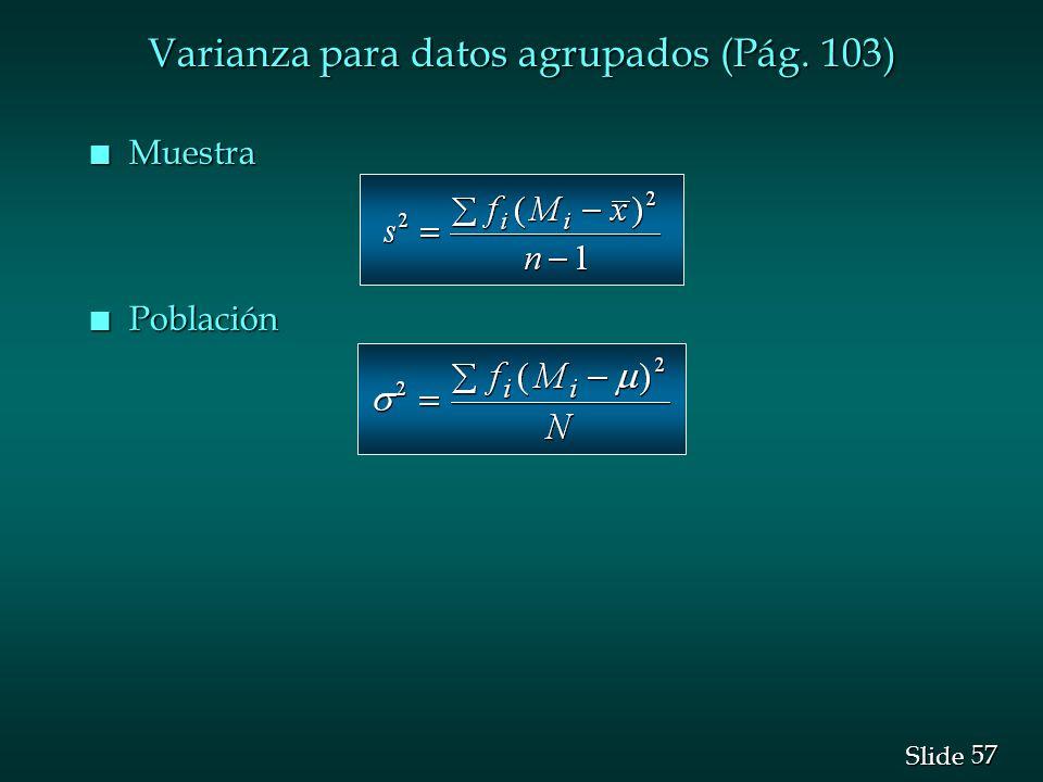 Varianza para datos agrupados (Pág. 103)