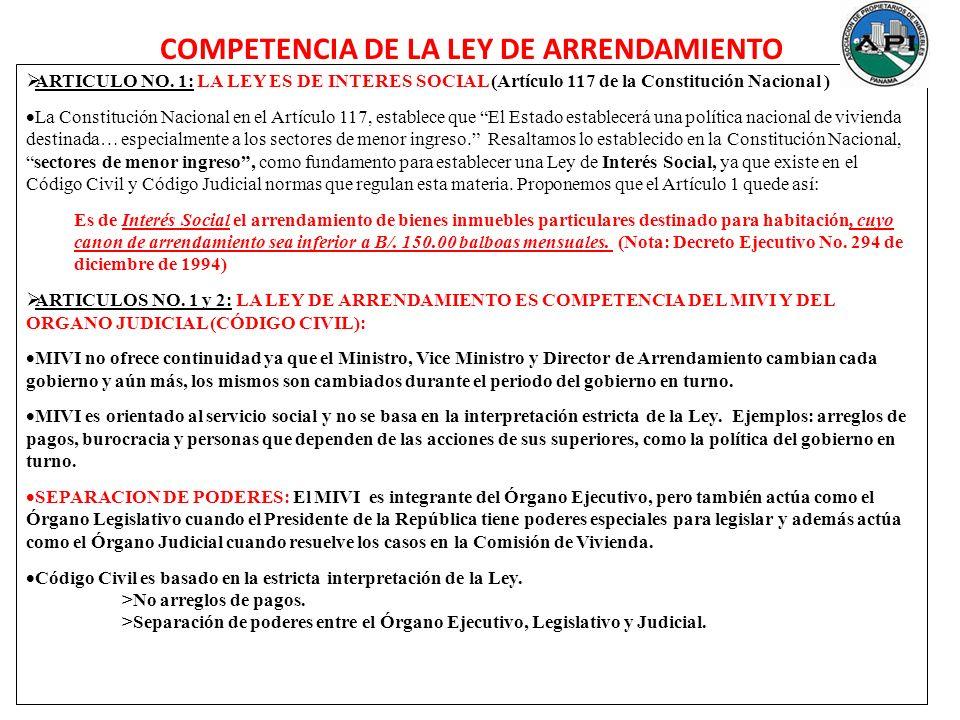 COMPETENCIA DE LA LEY DE ARRENDAMIENTO