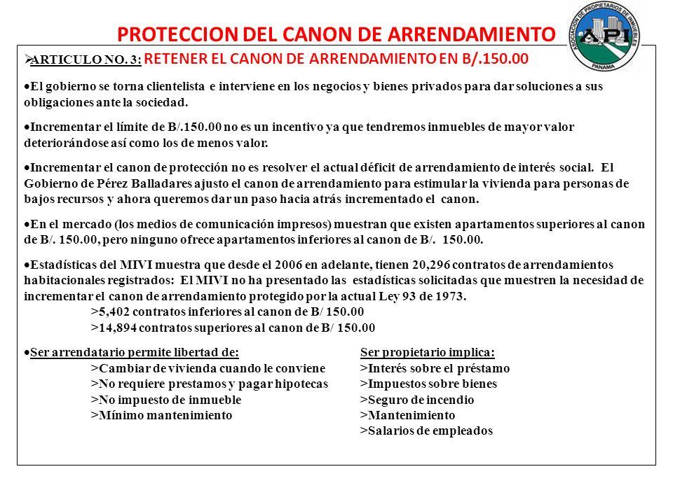 PROTECCION DEL CANON DE ARRENDAMIENTO