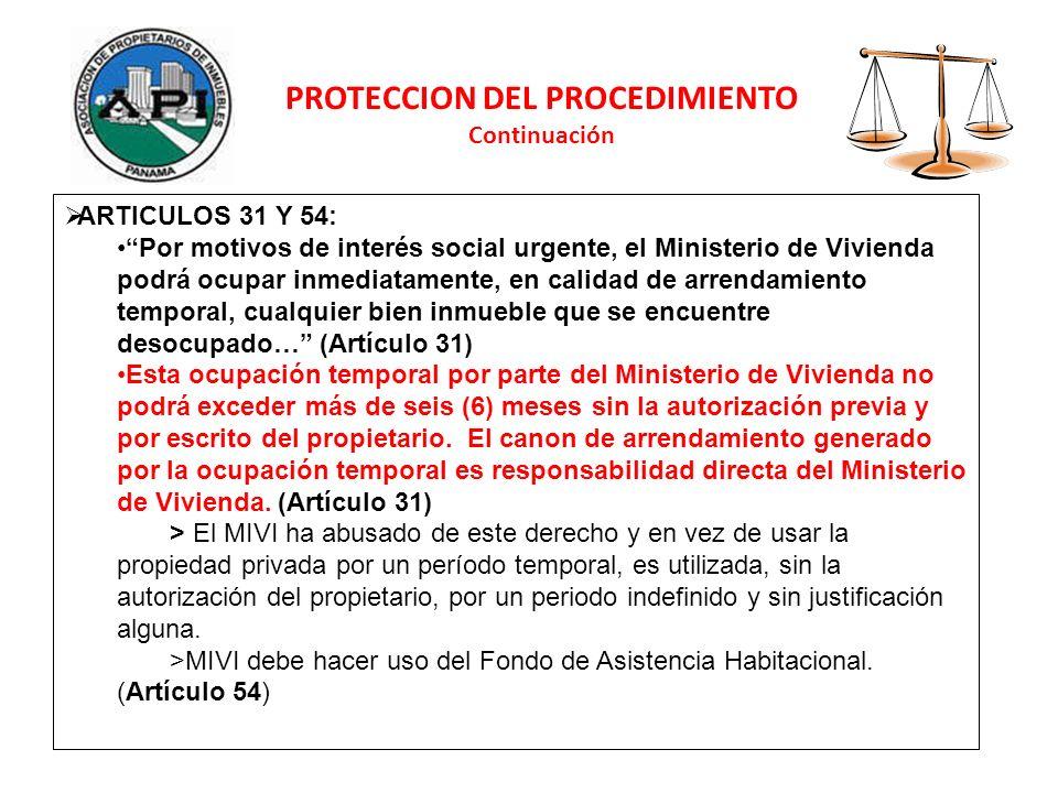 PROTECCION DEL PROCEDIMIENTO