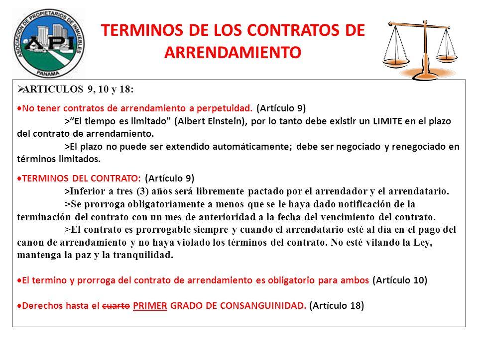 TERMINOS DE LOS CONTRATOS DE ARRENDAMIENTO