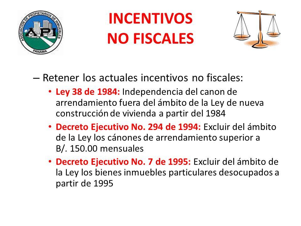 INCENTIVOS NO FISCALES