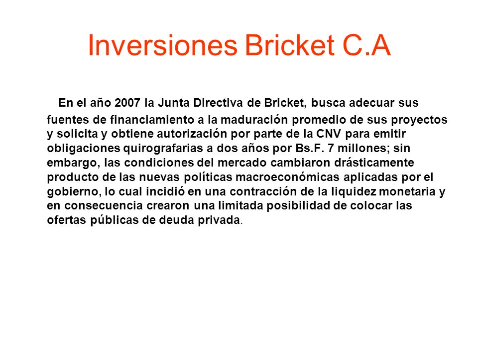 Inversiones Bricket C.A