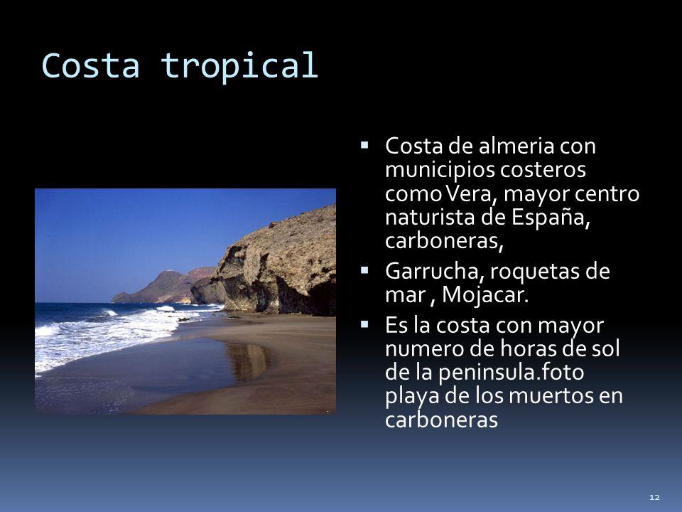 Costa tropical Costa de almeria con municipios costeros como Vera, mayor centro naturista de España, carboneras,