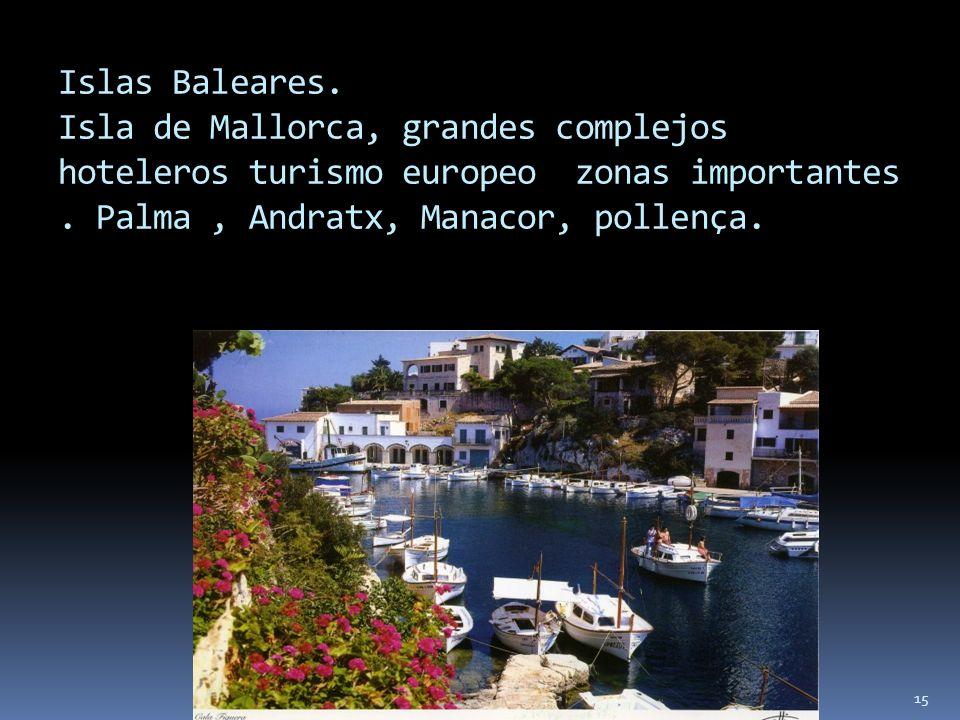 Islas Baleares.Isla de Mallorca, grandes complejos hoteleros turismo europeo zonas importantes .