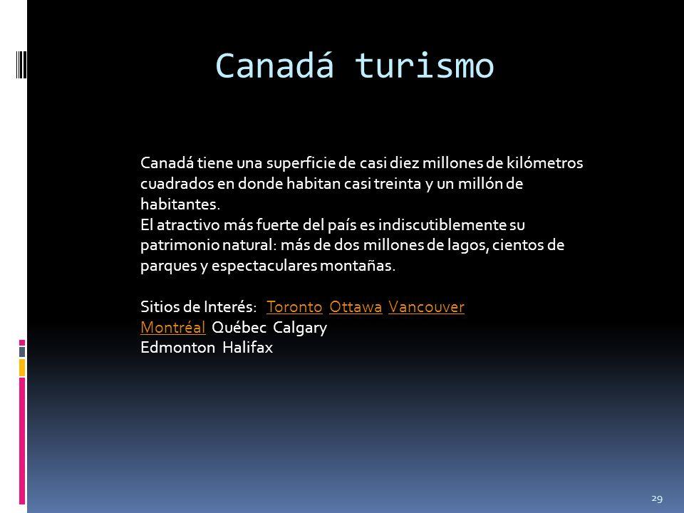 Canadá turismo Canadá tiene una superficie de casi diez millones de kilómetros cuadrados en donde habitan casi treinta y un millón de habitantes.