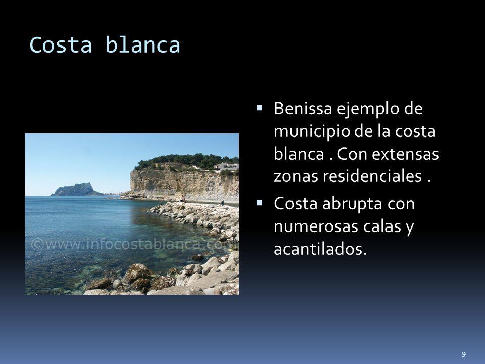 Costa blancaBenissa ejemplo de municipio de la costa blanca . Con extensas zonas residenciales .