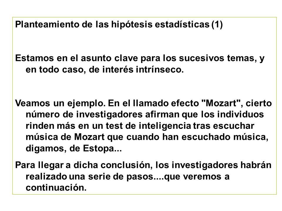 Planteamiento de las hipótesis estadísticas (1)