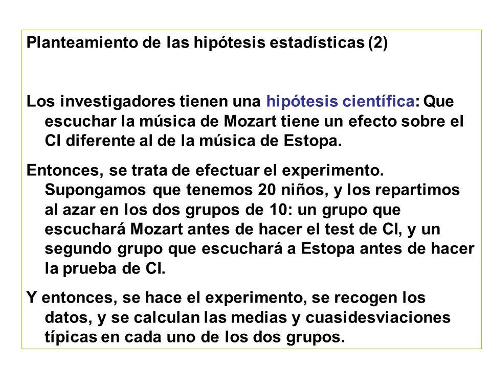 Planteamiento de las hipótesis estadísticas (2)
