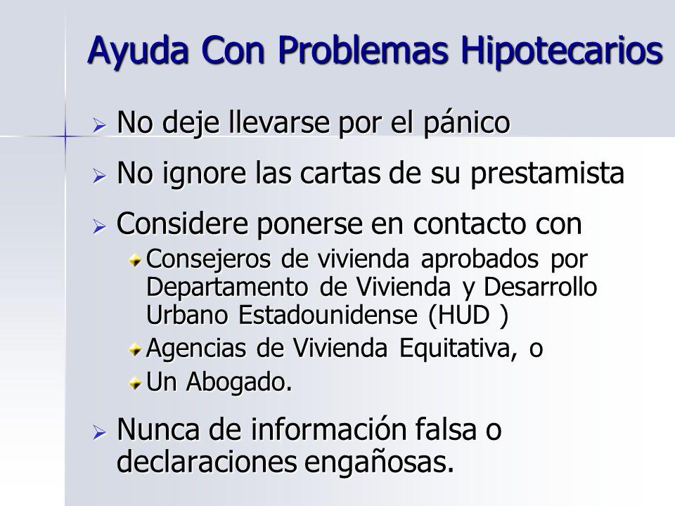 Ayuda Con Problemas Hipotecarios