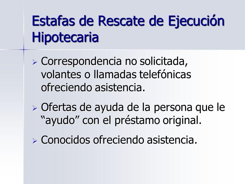Estafas de Rescate de Ejecución Hipotecaria