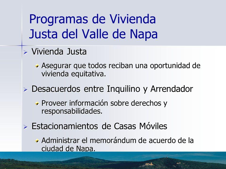 Programas de Vivienda Justa del Valle de Napa