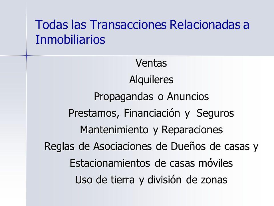 Todas las Transacciones Relacionadas a Inmobiliarios