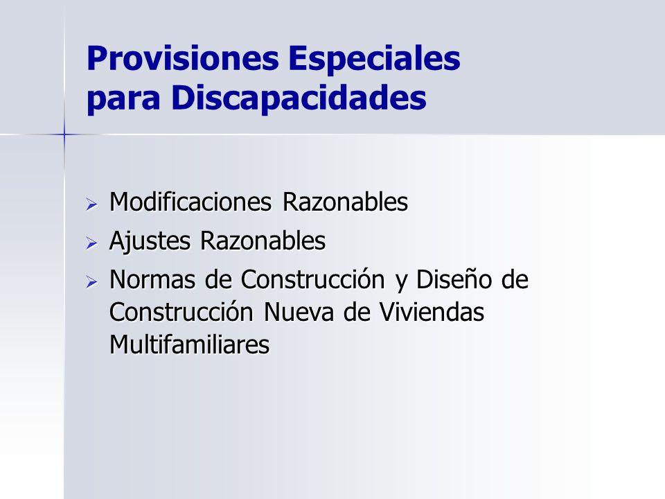 Provisiones Especiales para Discapacidades