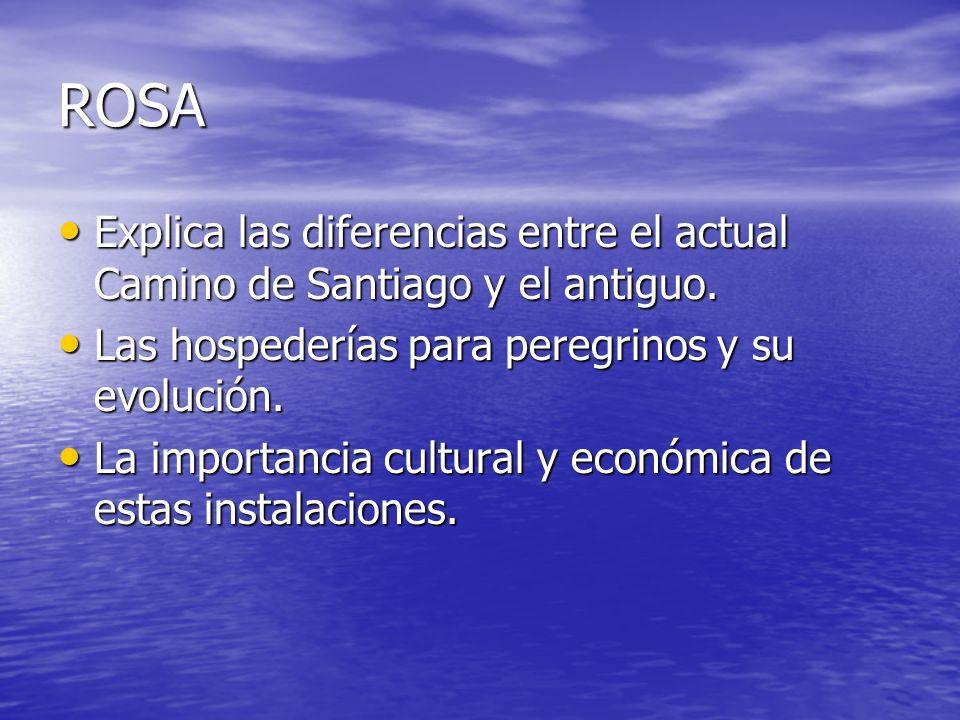 ROSA Explica las diferencias entre el actual Camino de Santiago y el antiguo. Las hospederías para peregrinos y su evolución.
