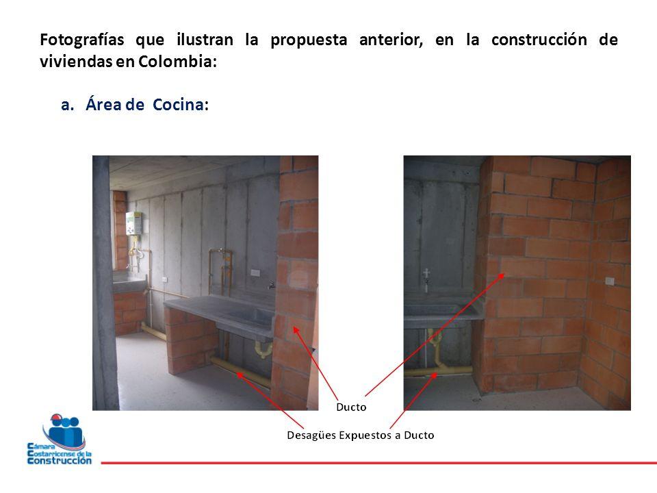 Fotografías que ilustran la propuesta anterior, en la construcción de viviendas en Colombia: