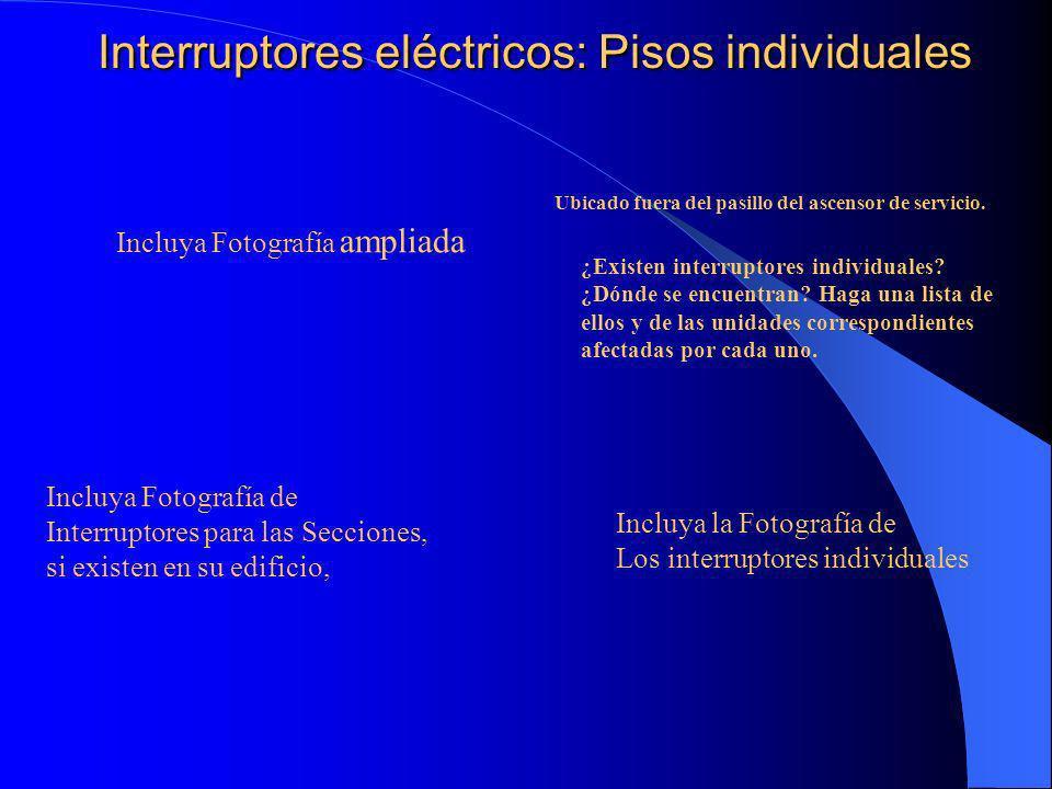 Interruptores eléctricos: Pisos individuales