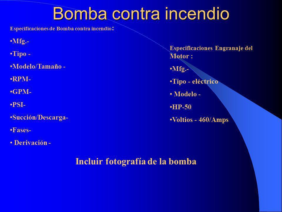 Incluir fotografía de la bomba
