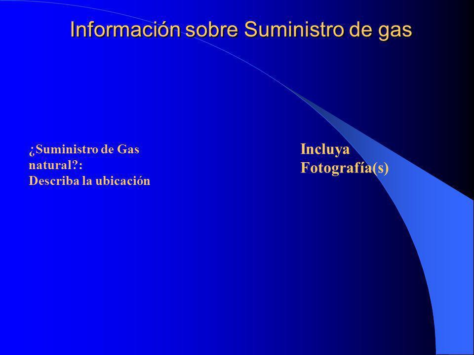 Información sobre Suministro de gas