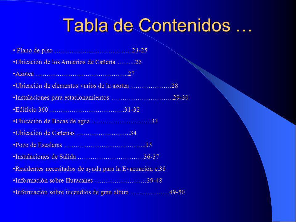 Tabla de Contenidos … Plano de piso ………………………………23-25