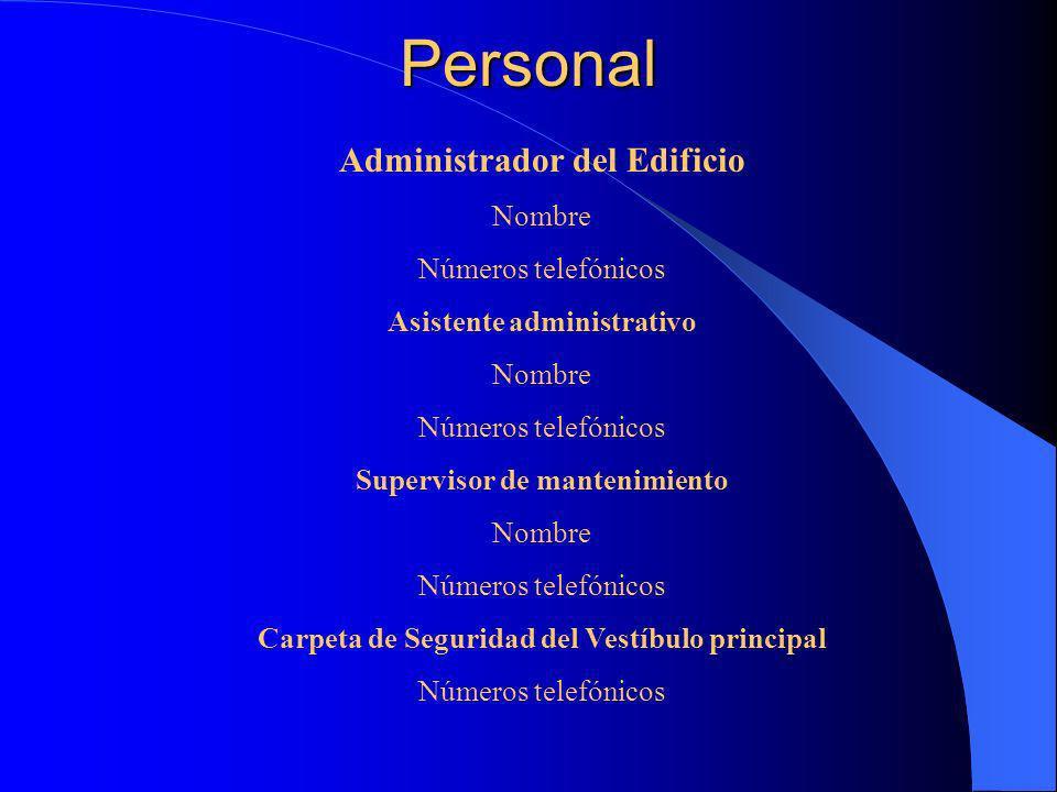 Personal Administrador del Edificio Nombre Números telefónicos