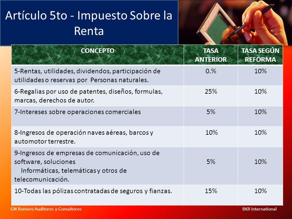 Artículo 5to - Impuesto Sobre la Renta