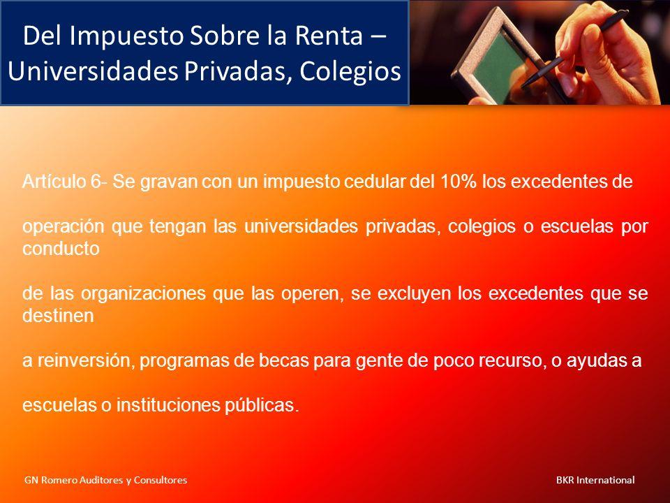 Del Impuesto Sobre la Renta – Universidades Privadas, Colegios