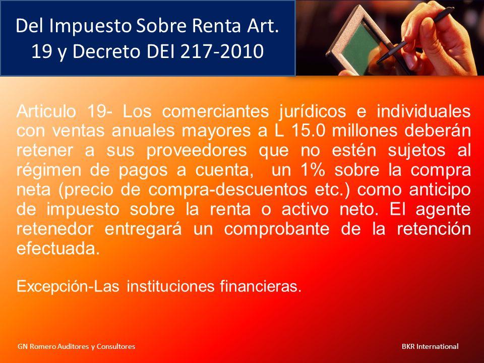 Del Impuesto Sobre Renta Art. 19 y Decreto DEI 217-2010