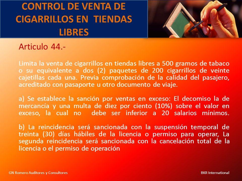 CONTROL DE VENTA DE CIGARRILLOS EN TIENDAS LIBRES