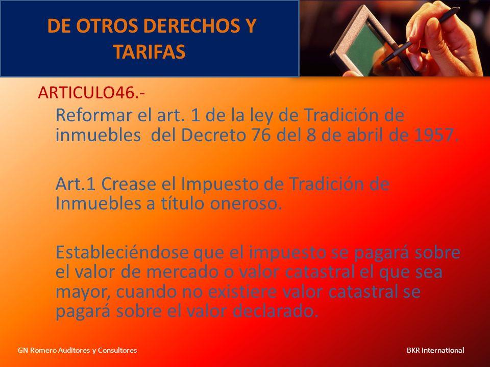 DE OTROS DERECHOS Y TARIFAS