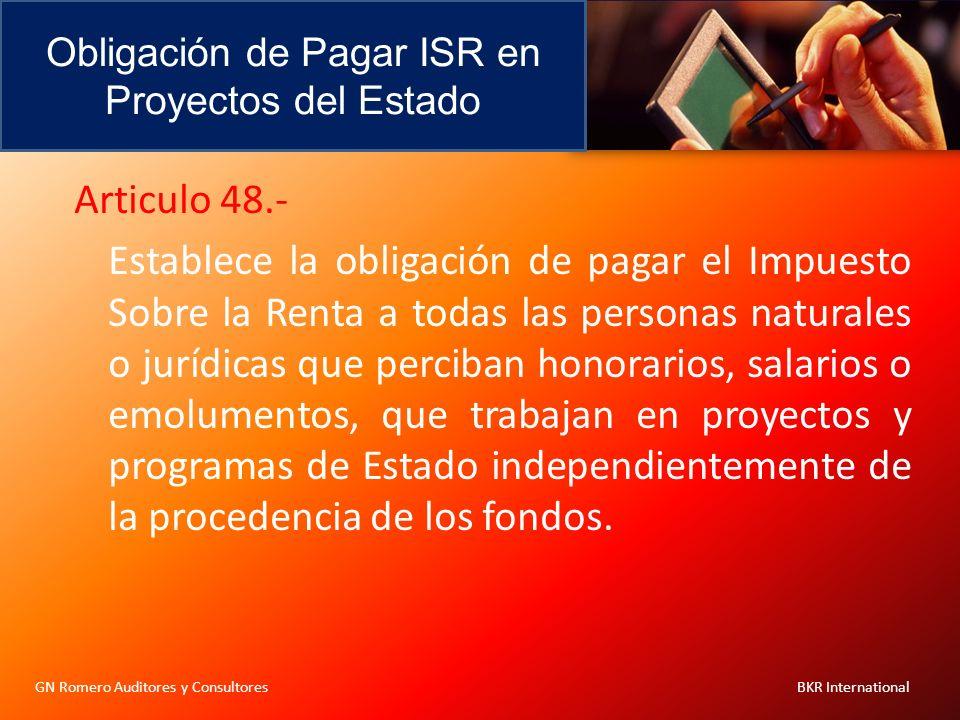 Obligación de Pagar ISR en Proyectos del Estado