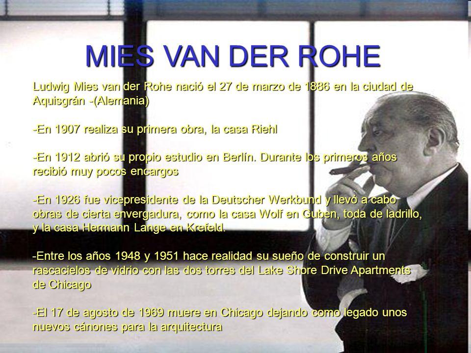 MIES VAN DER ROHE Ludwig Mies van der Rohe nació el 27 de marzo de 1886 en la ciudad de Aquisgrán -(Alemania)