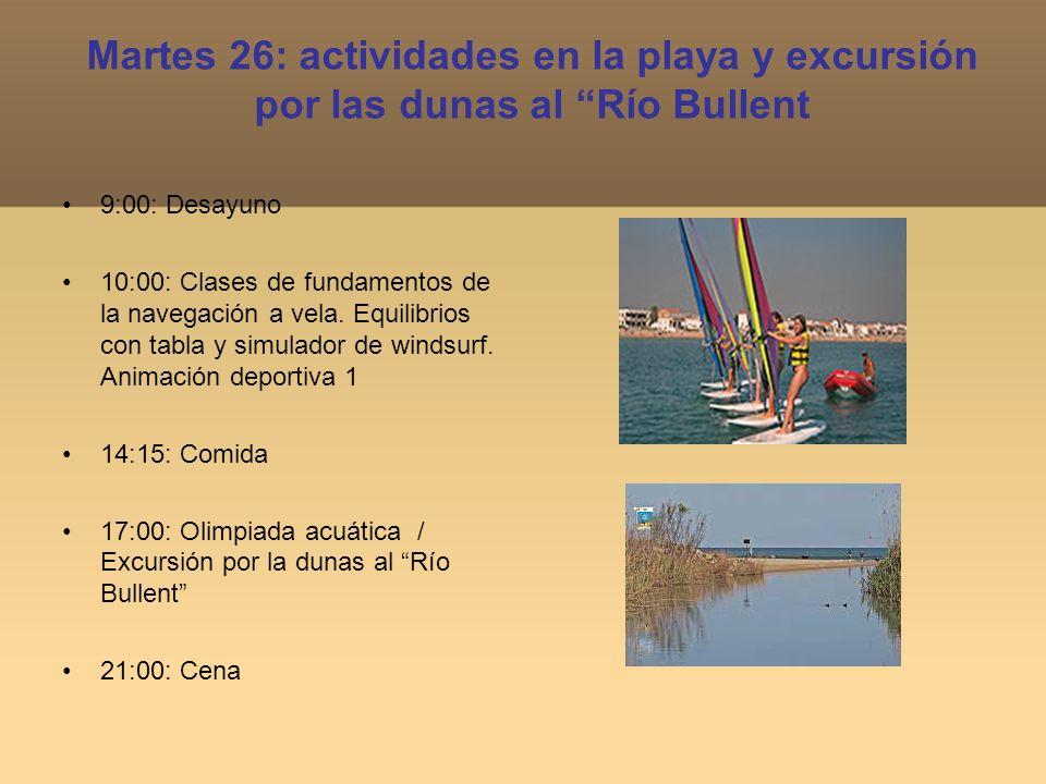 Martes 26: actividades en la playa y excursión por las dunas al Río Bullent