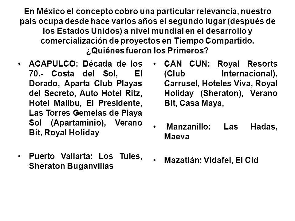 En México el concepto cobro una particular relevancia, nuestro país ocupa desde hace varios años el segundo lugar (después de los Estados Unidos) a nivel mundial en el desarrollo y comercialización de proyectos en Tiempo Compartido. ¿Quiénes fueron los Primeros