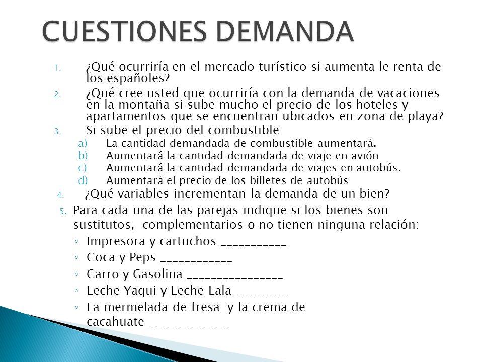 CUESTIONES DEMANDA ¿Qué ocurriría en el mercado turístico si aumenta le renta de los españoles