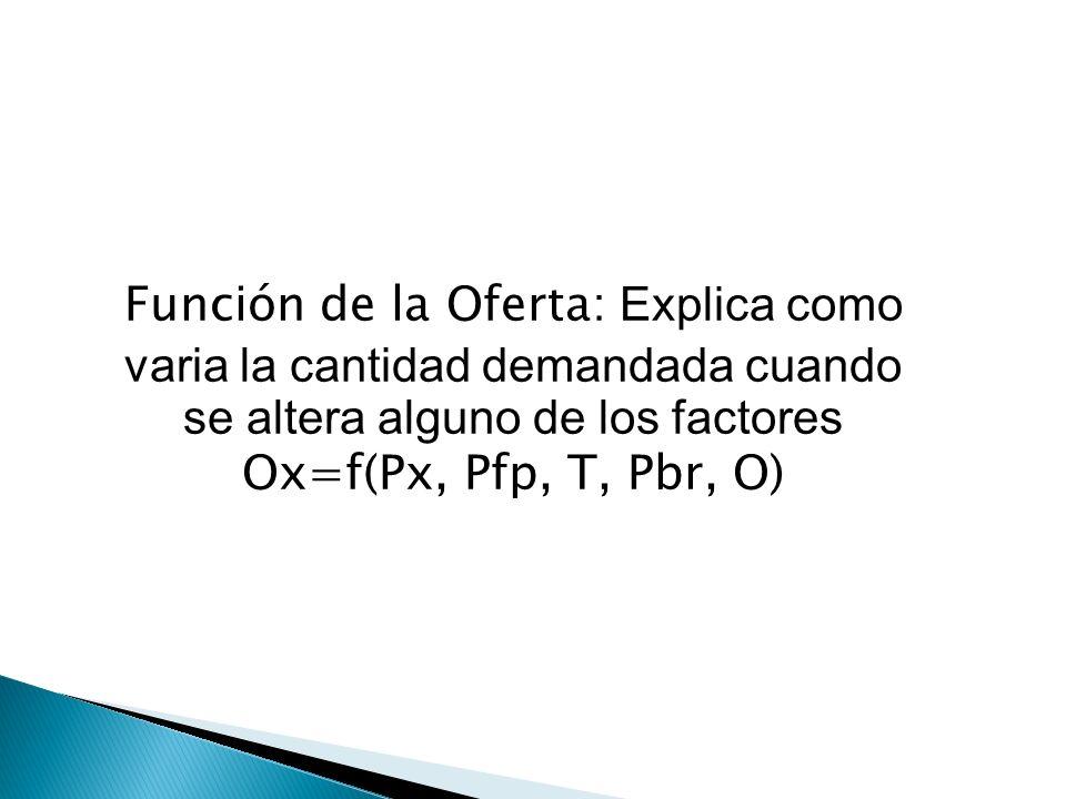 Función de la Oferta: Explica como varia la cantidad demandada cuando se altera alguno de los factores