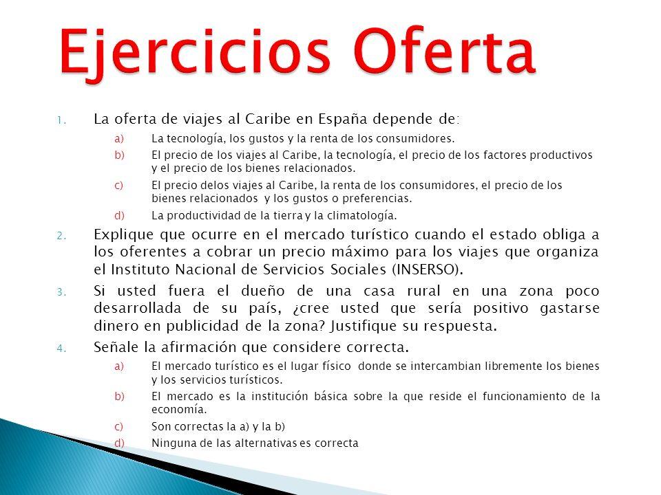 Ejercicios Oferta La oferta de viajes al Caribe en España depende de: